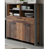 Highboard Kommode Clif in Old Used Wood Shabby 107 x 128 cm