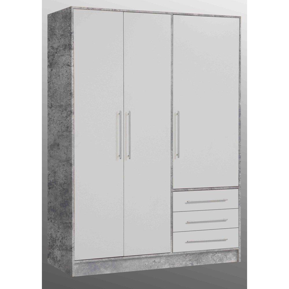 Kleiderschrank Jupiter In Stone Design Und Weiss 3 Turig 145 X 200