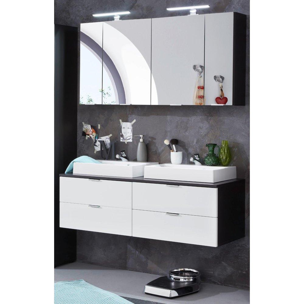 Badmöbel Set Concept1 in weiß Hochglanz und Graphit grau 6-teilig  Doppelwaschtisch 120 x 192 cm