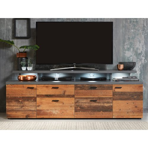 TV-Lowboard Mood in Old Used Wood Design mit Matera grau TV-Unterteil Shabby 180 x 66 cm