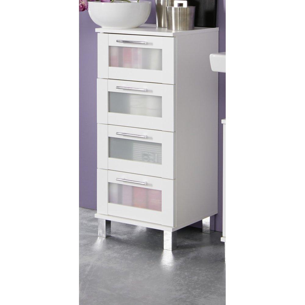 Badezimmer Kommode in weiß mit satiniertem Glas Florida / Orlando 35 x 89  cm Badschrank Unterschrank