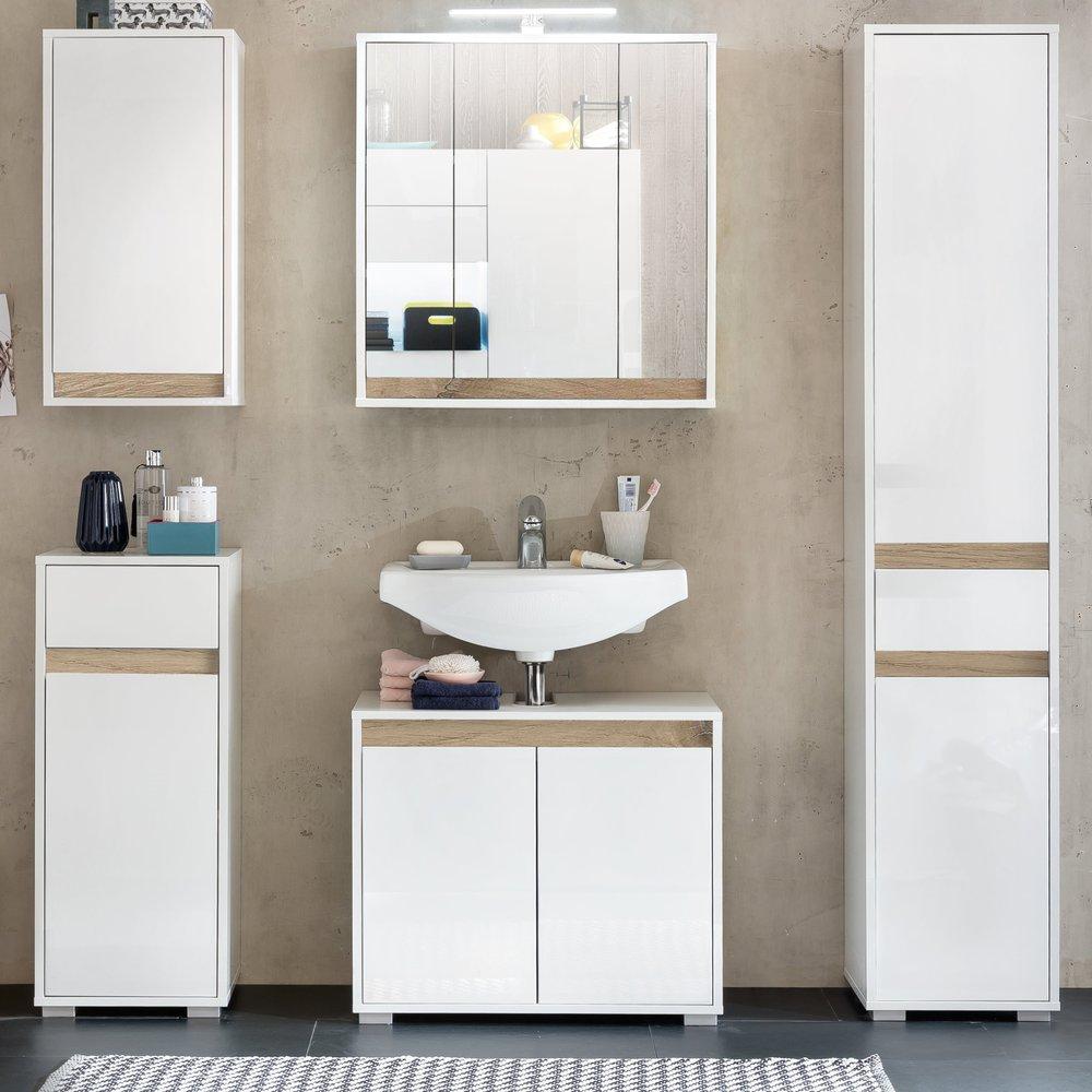 Badezimmer Unterschrank Sol in weiß Hochglanz 35 x 90 cm