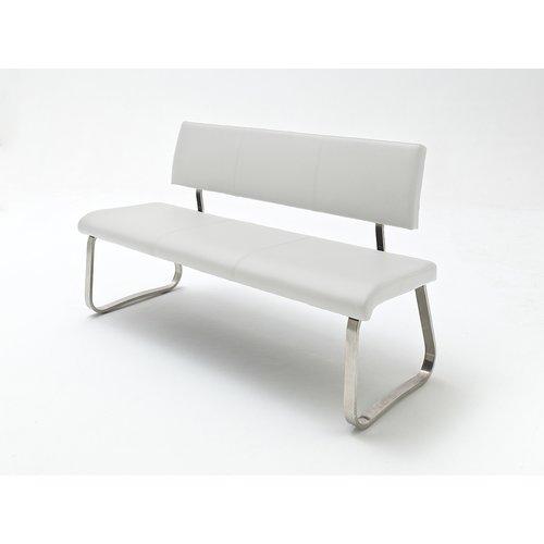 Sitzbank Echtleder Arco Bank Echtleder 2 mit Lehne weiß