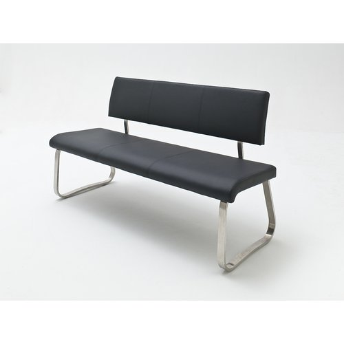 Sitzbank Kunstleder Arco Bank Kunstleder mit Lehne schwarz