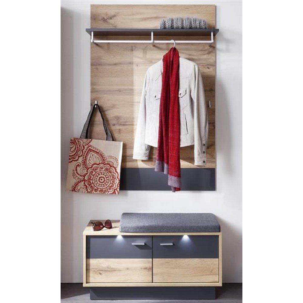 Garderoben Kombination In Wotan Eiche Mit Grau Coast 2 Teiliges Set Garderobenpaneel Und Sitzbank 84 Cm Inkl Beleuchtung