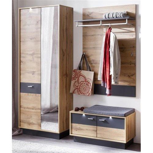 Garderoben Kombination In Wotan Eiche Mit Grau Coast 3