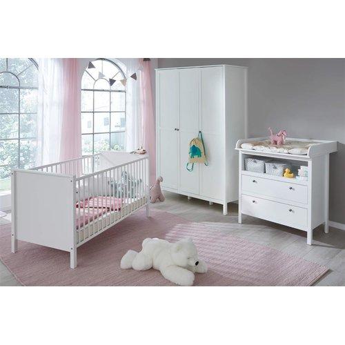 Babyzimmer Landhaus Weiss Komplett Set 3 Teilig Wickelkommode