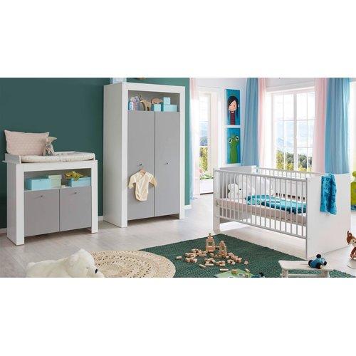 Babyzimmer weiß und grau komplett Set 3-teilig Pia Kleiderschrank ...