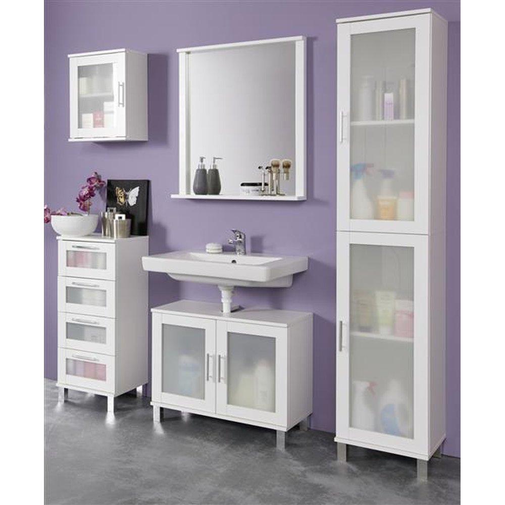 Badezimmer-Kombination in weiß mit satiniertem Glas Florida / Orlando  18-teiliges Set Hochschrank, Spiegel, Waschbeckenunterschrank, Hängeschrank  und