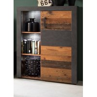 Highboard in Old Wood und Graphit grau Matera Vitrine 87...