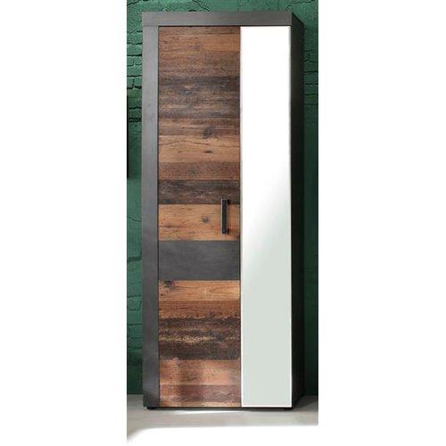 Garderobenschrank In Old Wood Und Graphit Grau Matera Indy Garderobe