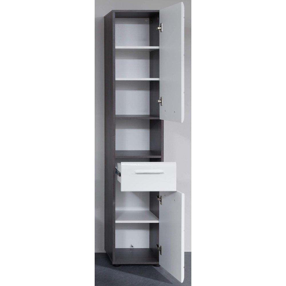 Badezimmer Hochschrank Hochglanz weiß und Sardegna grau Rauchsilber Line 30  x 182 cm