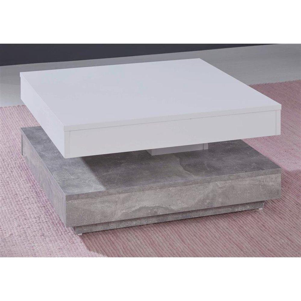 Couchtisch In Weiss Und Stone Design Grau Universal Quadratisch Wohnzimmertisch Drehbar Mit Ablage 70 X 70 Cm Betonoptik