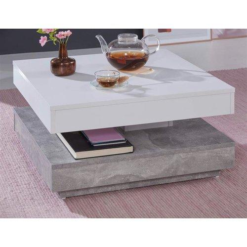 Couchtisch In Weiss Und Stone Design Grau Universal Quadratisch
