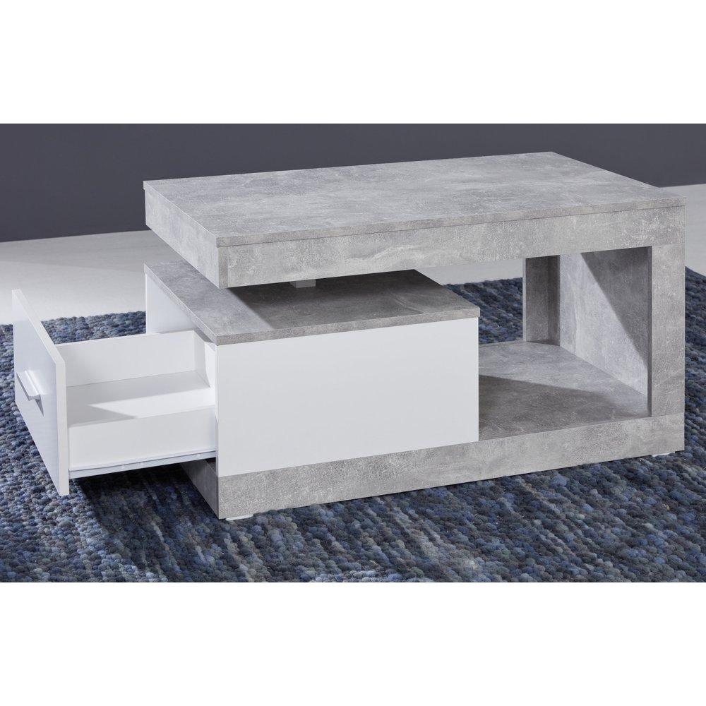 Couchtisch in Stone Design grau und weiß Wohnzimmertisch 90 x 55 cm mit  Schublade und Ablage Betonoptik