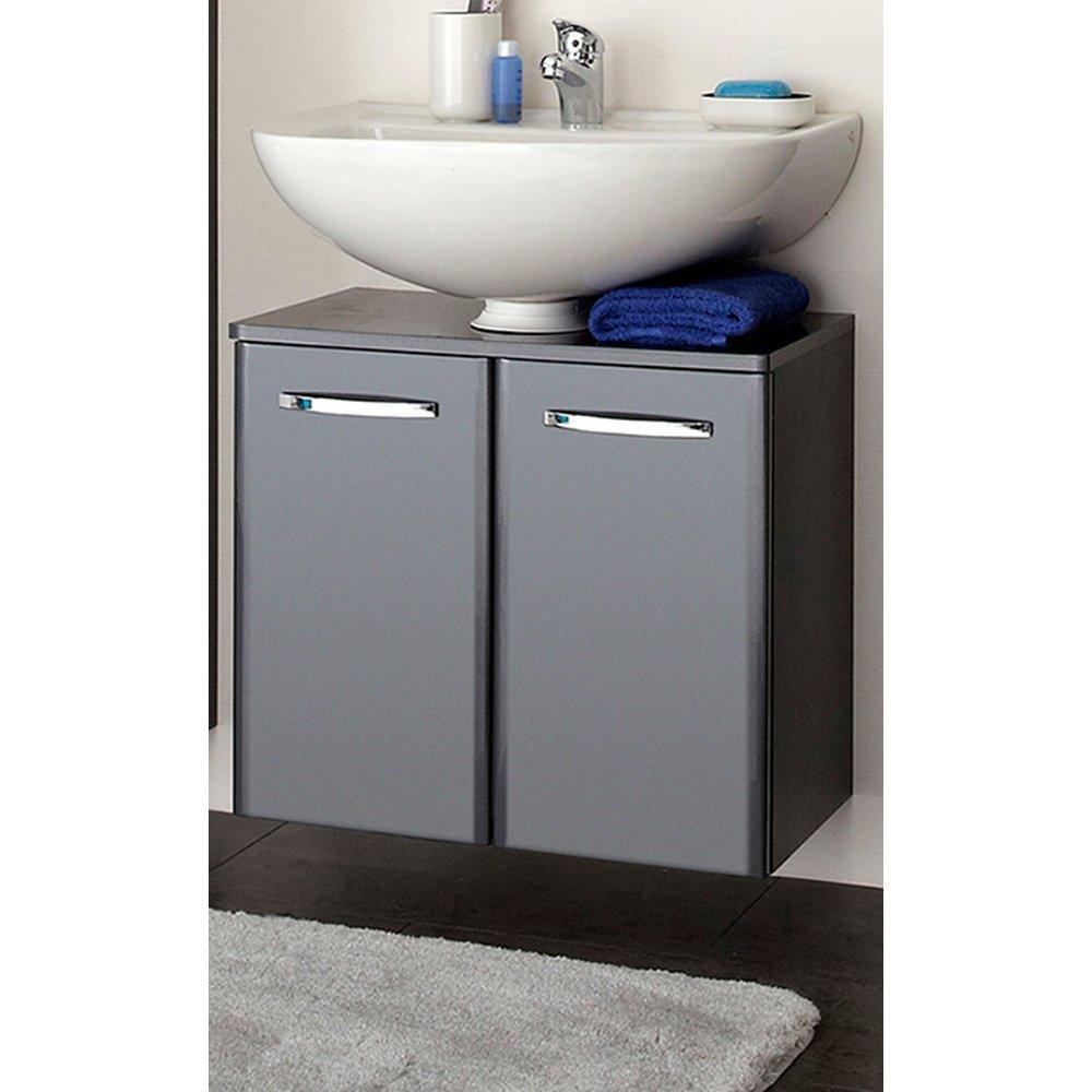 Badezimmer Waschbeckenunterschrank hängend Anthrazit Hochglanz Velo 15 x 15  cm Waschtisch