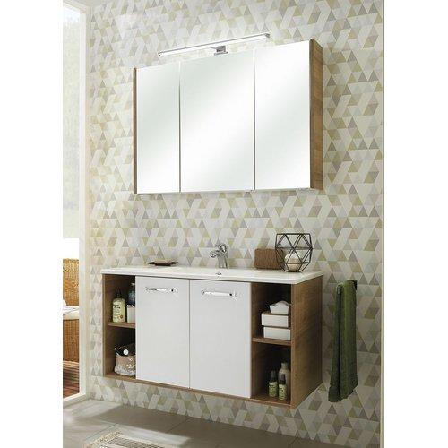 Badezimmer Badmöbel Set 3-teilig weiß Glanz und Riviera ...
