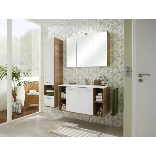 Badezimmer Hochschrank hängend weiß Glanz und Riviera Eiche ...